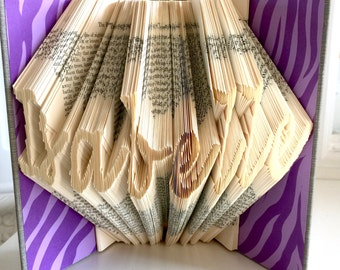 Custom folded book art—up to 8 letters in Lucida