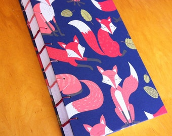 144 Page Foxy Journal // 9 x 6 Hardcover Sketchbook // Orange and Red Foxes // Notebook // Cute Gift // Coptic Stitch // Handmade
