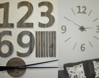 122 cm (48 '') silver wall clock wood barn natural-perhaps painted giant wall clock-oversized wall clock, large 3D numbers