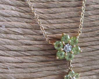 14KT Gold Peridot Flower Drop Necklace