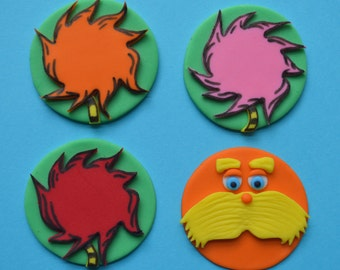 12 Dr. Seuss The Lorax Cupcake Toppers-Fondant