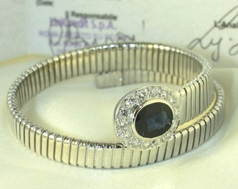 Snake tubogas bracelet with 1.40 ct. diamonds and a blue sapphire 2.90 ct.