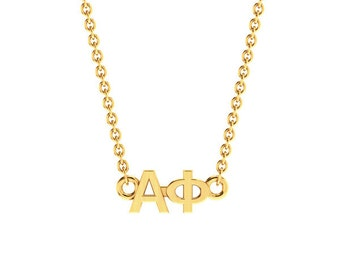 Alpha Phi Necklace, Yellow Gold Horizontal Lavalier, Available in all Sororities!