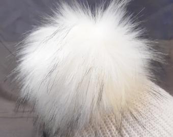 Size L(the highest quality) cream-white black flecked faux fur pom pom 6 '' / 15 cm