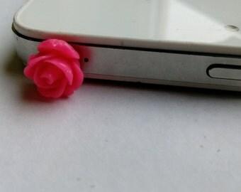 Phone plug- rose dust plug phone charm