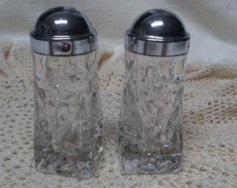 Pressed Glass SALT & PEPPER SHAKERS, Vintage