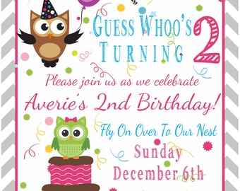 Owl birthday invite Etsy