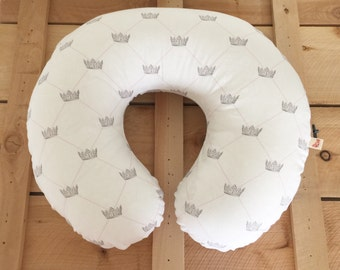Nursing Pillow Cover Crowns Princess French Royal for Boppy Pillow, Breastfeeding Pillow Slipcover Pink Girl Nursery