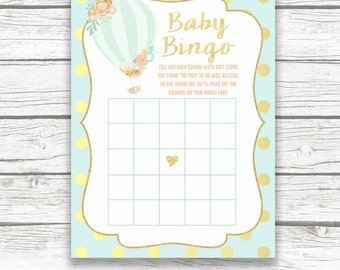 Hot Air Balloon Bingo Game Printable, Baby Bingo Game, Baby Girl Shower Game, Printable Baby Shower Games, Instant Download