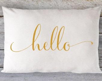 Hello Pillow, Hello, Throw Pillow, Hello Throw Pillow, Hello Throw, Gold Pillow, Girl Gift, Apartment Decor, Loft Decor, Tween Gift, Gold