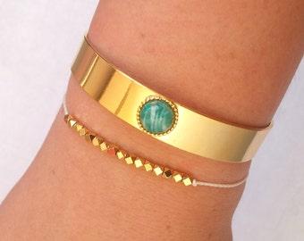 16k gold plated bracelet with amazonite stone