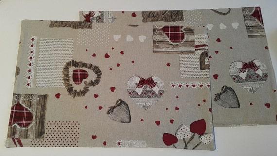 Romantic Reversible Placemats, Set of 2 Placemats, Cotton Placemats, Cloth Placemats, Kitchen Decoration, Coasters, Table Linens,
