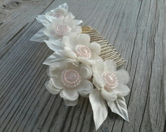 Pink Flower Wedding Hair Comb Bridal Flower Hair Comb Floral Hair Accessories Wedding Hair Piece Bridal Headpiece