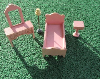 Vintage Strombecker Doll Furniture - Pink Bedroom  - 4 Pieces