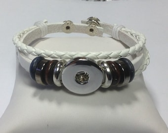 New Item..WHITE BEADED Snap BRACELET..double snap closure.. Fits 18-20mm snaps..