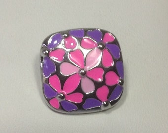 New! PINK and PURPLE FLOWER Snap...Metal...Bright Colors...fits 18-20mm