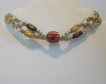 Hemp choker necklace / wooden beads / red flower and vine patterned center bead / 14 inch hemp choker