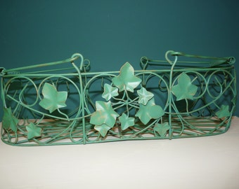 Green Wire Basket with Ivy and Hearts