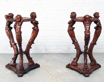 RARE Antique French Pedestals Carved Centar Cherubs Matching Pair Walnut Circa 1900 #5448