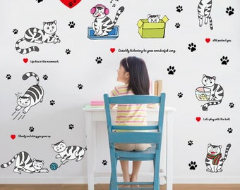 Happy cat playing set decal, cat group wall decal for kid room, kindergarten wall decor-YY9049