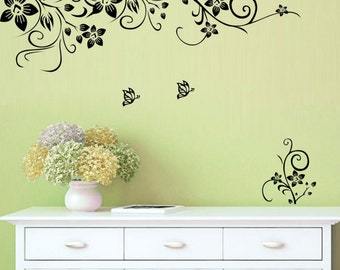 Butterfly, flower and vine wall decal, nature view decal, room decal