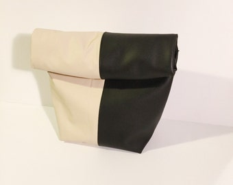 Black and Cream Lunch Bag clutch, lunch bag clutch, zippered clutch, paper bag clutch, vegan leather lunch bag,
