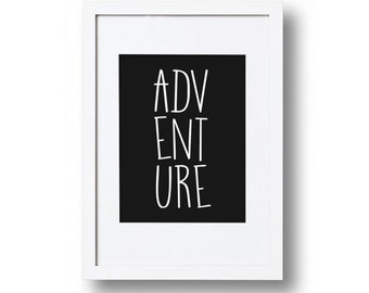 Adventure monochrome print, Playroom decor, Large A3 A2 Print poster, Child's bedroom, Wall art print