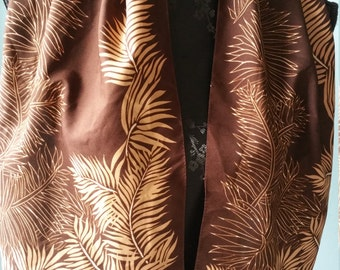 Vintage brown oblong Italian shawl with leaves! Party chic everyday