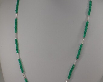 Green Onyx and Sterling Lei