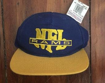 Vintage Deadstock NWT Los Angeles Rams NFL Snapback Hat Baseball Cap