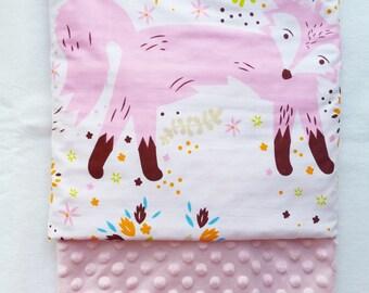 Baby Blanket Minky Fox Baby Blanket with Pink Dot Minky Back