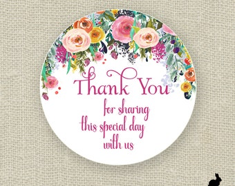 Wedding Favor Stickers - Thank You, Bridal Shower Floral (12) 2.5 inch, (20) 2 inch or (24) 1.67 inch circle stickers - Favor Bag - Flowers