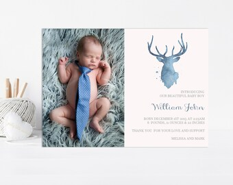 Boy Birth Announcement, Baby Boy Birth Announcement, Baby Announcement, Printable, Boy Announcement, Personalized Announcement, Watercolor