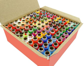 100 Pcs Set Assorted Color Polyester Thread Spool Spun Sewing Supplies Quilting