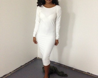 White long sleeve midi dress Size S/M