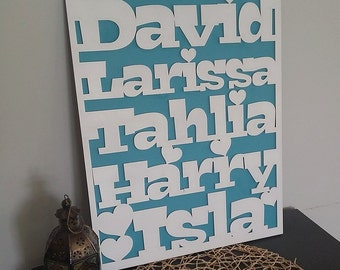 Family name sign - customise with the names of the special ones in your family