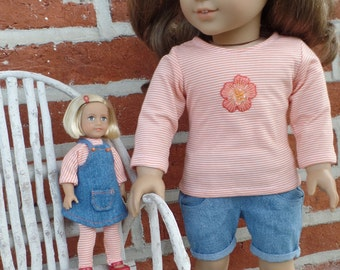 American Girl 6 inch mini doll clothes: striped top, leggings, and demin apron jumper