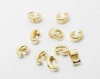 P0384/Anti-Tarnished Gold Plating Over Brass/Alphabet Script Initial Charm - C/5mm/2pcs