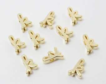 P0384/Anti-Tarnished Gold Plating Over Brass/Alphabet Script Initial Charm - K/5mm/2pcs