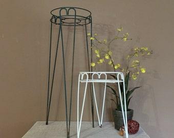 Set of 2 Rustic Plant Stands / Vintage Metal Plant Stand / Indoor Plant Stand / Outdoor Plant Stand / Plant Stand Metal