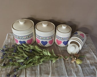Vintage Canister Set of Four / Canister Set / Countertop Canisters