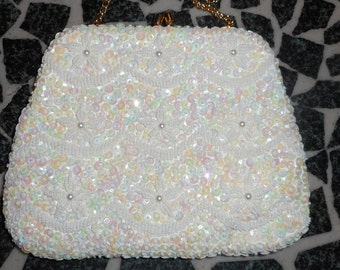 VINTAGE Hand Made 8.5 x 4 x 1.5 Sequined Ivory Evening Bag