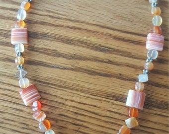 Stripe orange Agate Necklace