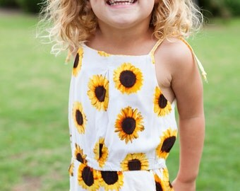 Toddler Girl Clothes. Sunflowers & gingham. Toddler Girl Outfits. Baby. Casual romper. Jumpsuit. Girls. Shoulder ties.