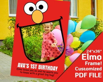 "elmo photo booth frame, sesame street, elmo girl birthday, 1st birthday photobooth, elmo party decorations 24x36"" printable favors PDF file"