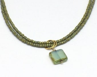 Chartreuse Double Strand Necklace
