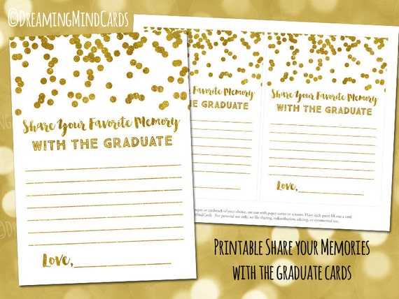 printable share your favorite memories with the graduate cards