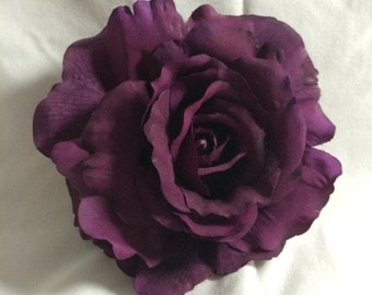 Deep Purple Rose Hair Flower Clip