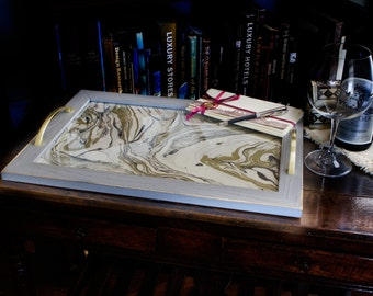 Gold Marble Print Tray 20x14