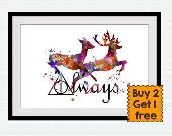 Always Harry Potter art print Harry Potter watercolor poster Always together wall decor Home decoration Harry Potter multicolor decor W7